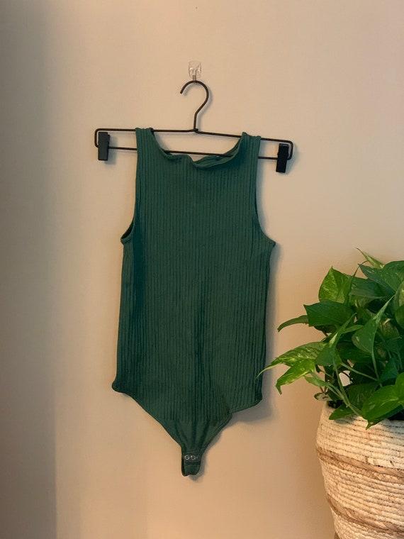 Vintage 1990s Forest Green Ribbed Bodysuit l Leota