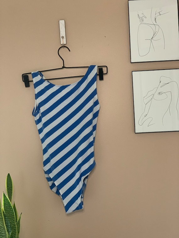 Vintage 1980s Blue Diagonal Stripe Leotard