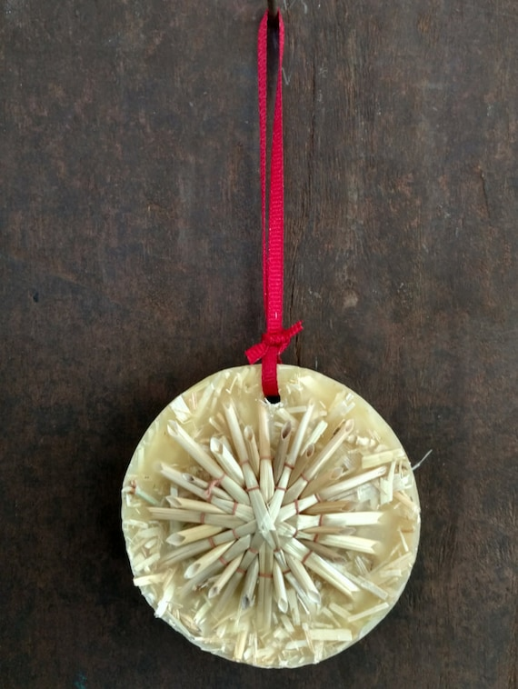 Straw & Wax Christmas/Yule Ornament: Star Motif