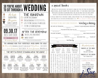 funny infographic wedding program games activities word search custom mad lib printable 6x9 popular funny facts