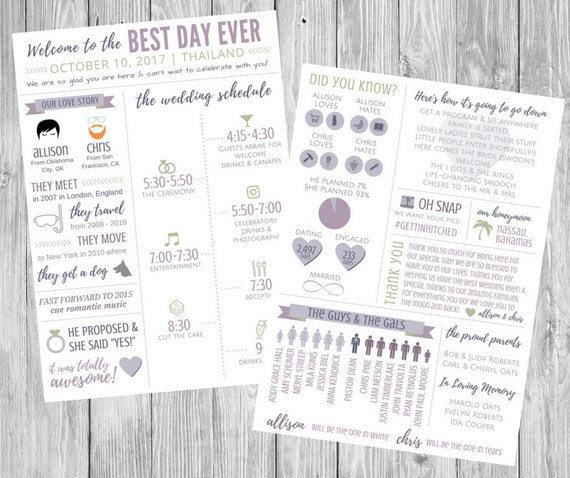 funny infographic wedding program timeline schedule our etsy