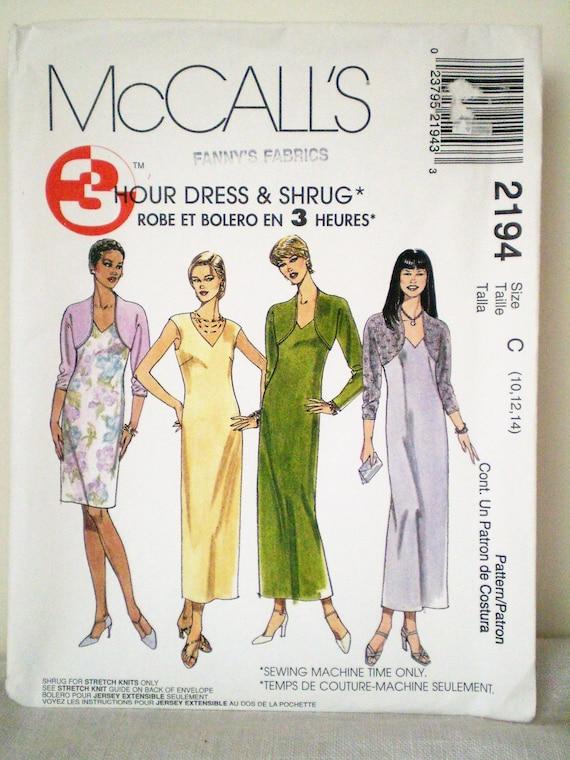 Easy to Sew Maxi V-Neck Dress & Shrug UNCUT McCall\'s 2194 | Etsy