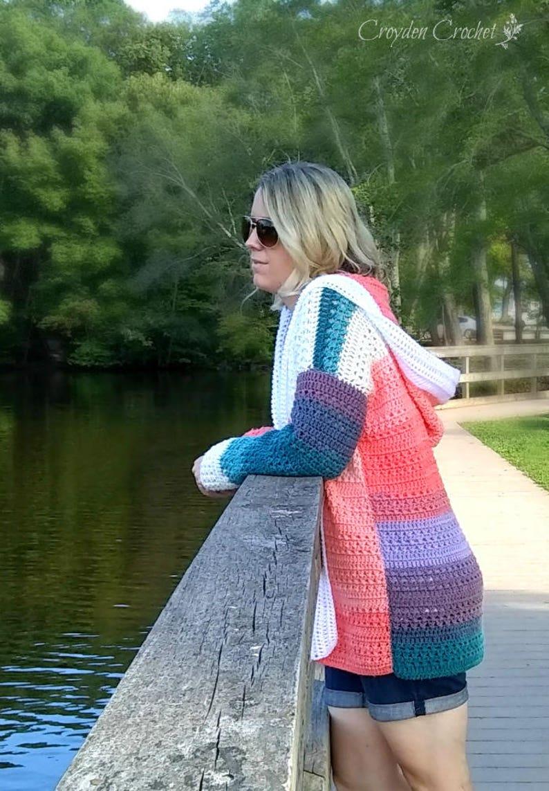 Crochet Colorblock Cardigan  CROCHET PATTERN ONLY image 0