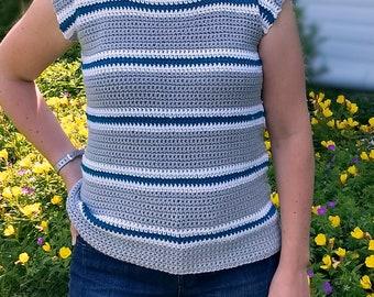 Simply Striped Crochet Tee - CROCHET PATTERN ONLY!