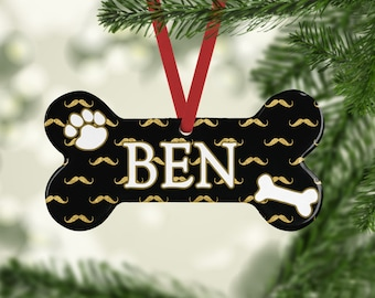 Many Mustache Dog Bone Ornament