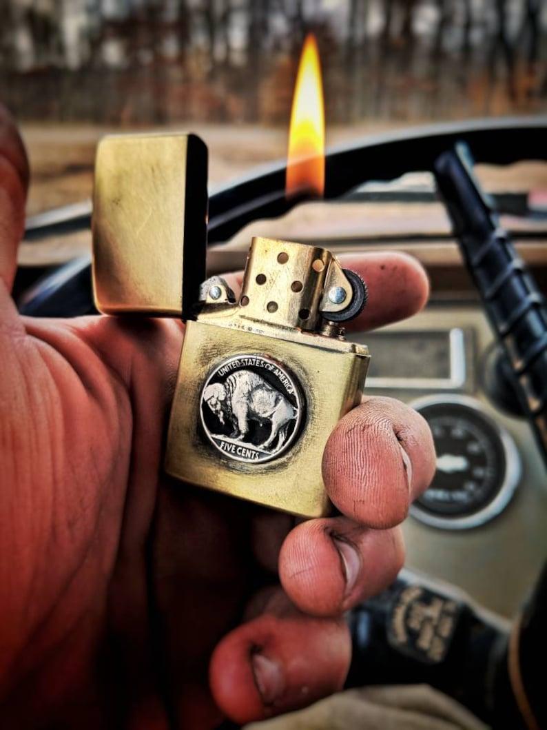 Hobo nickel-zippo-zippo lighter- Buffalo nickel-vintage lighter-coin ring -  Wedding gift - Cigar - Indian - custom lighter- free shipping