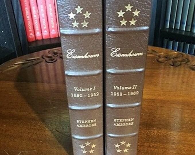 Eisenhower by Stephen Ambrose   Volume I & II   Easton Press Leather Bound  (1987)