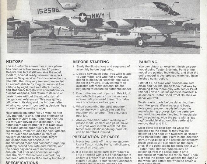 Testors #333 Grumman A-6A Intruder Model instructions