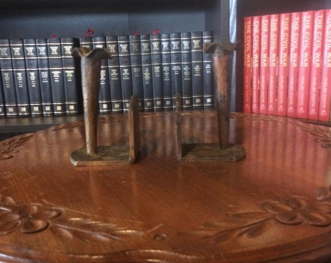 Hand Wrought Copper Candlestick Bookends