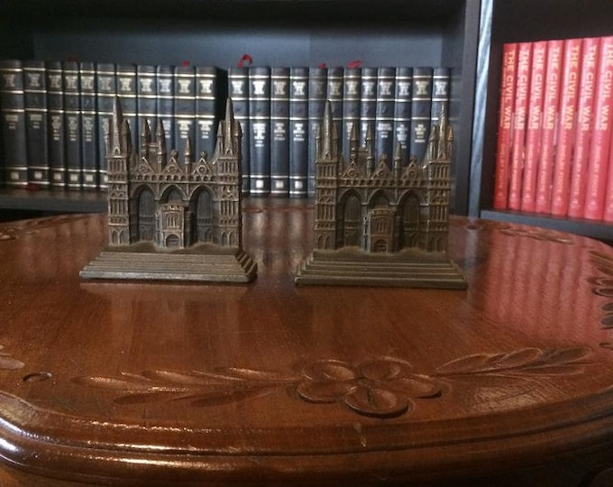 Peterborough Cathedral Bookends by The Connecticut Foundry Company (Cast Iron) 1928