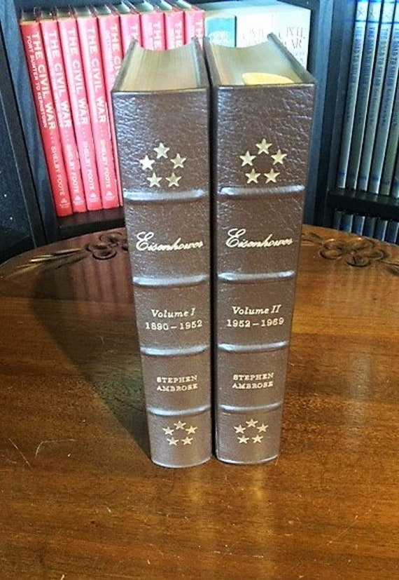 Eisenhower by Stephen Ambrose   Volume I & II   Easton Press Leather Bound  (1987)