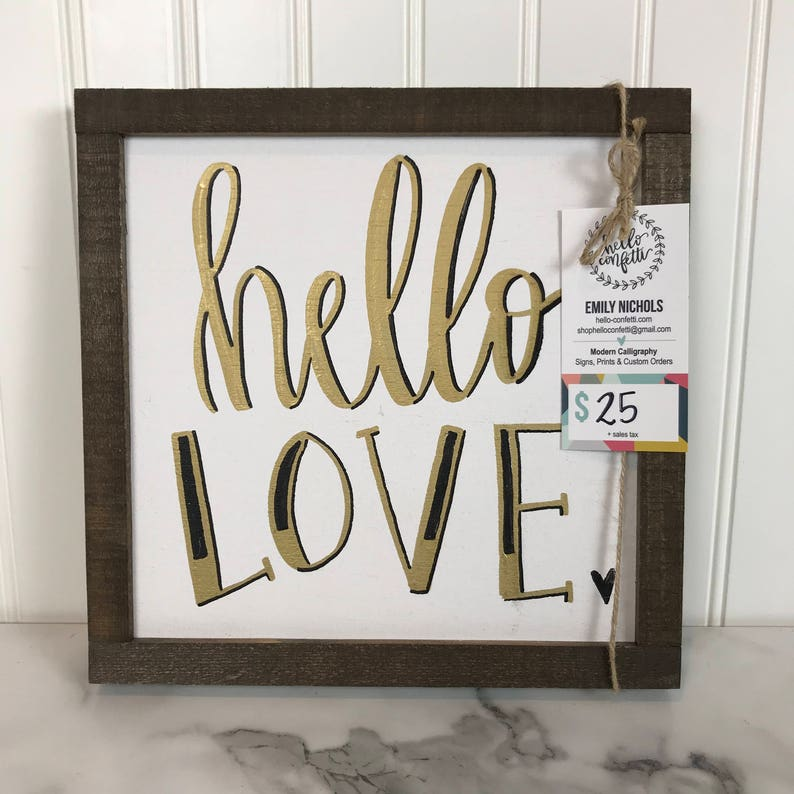 Hello Love Wood Home Decor Sign  Black Gold and White Sign image 0