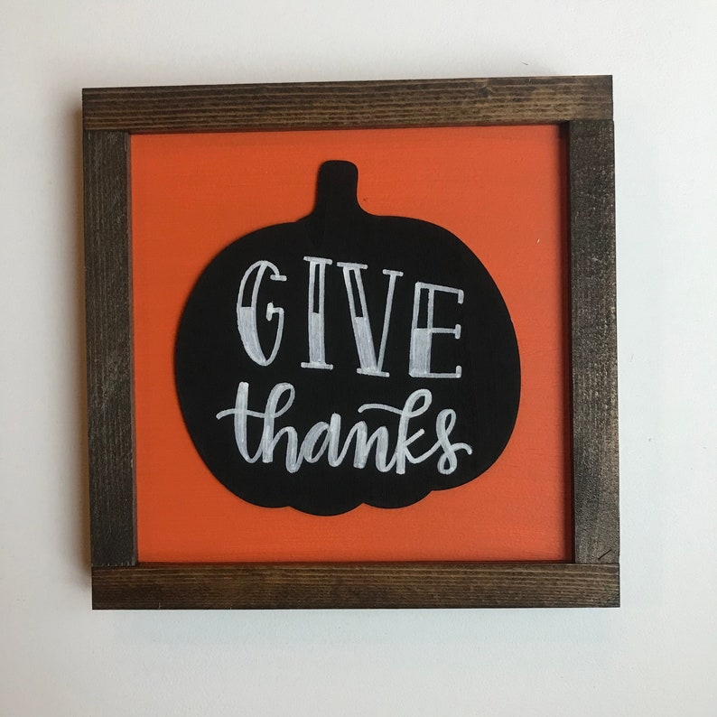 Give Thanks  Black White and Orange Pumpkin Wood Sign with image 0
