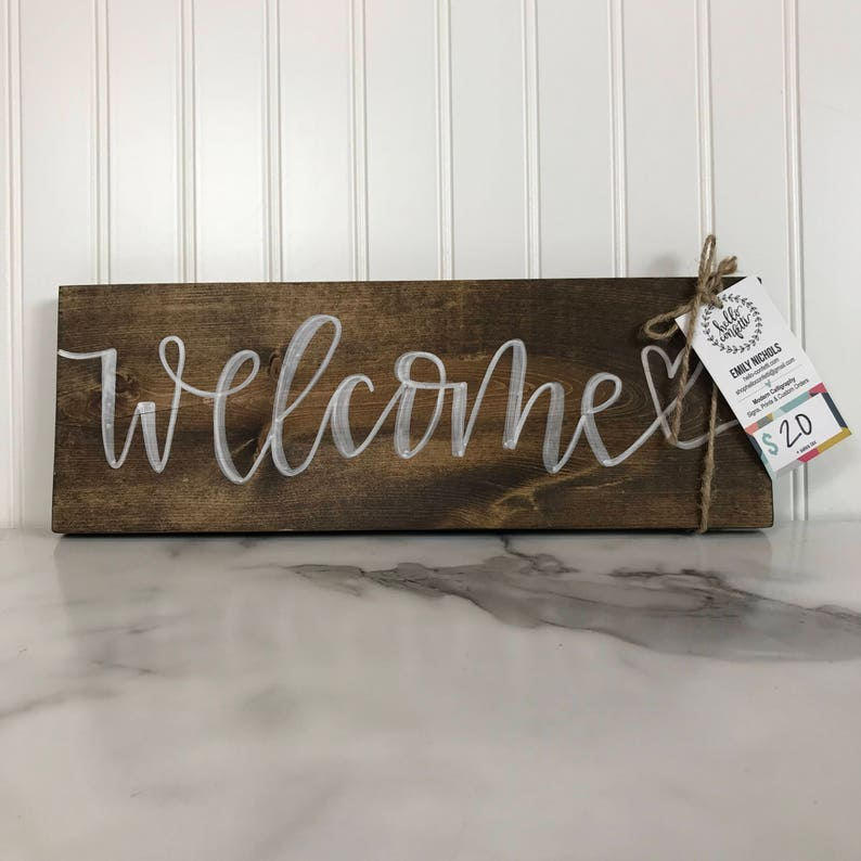 Welcome Sign  Walnut Stain and White Lettering  16 x image 0