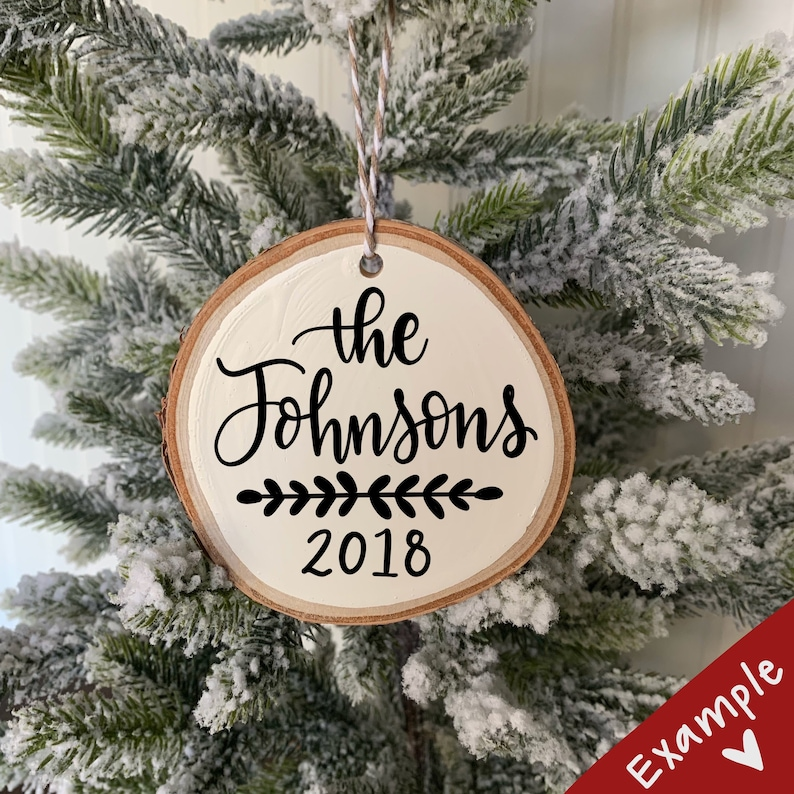 Custom Birch Holiday or Christmas Ornament with Calligraphy  image 0