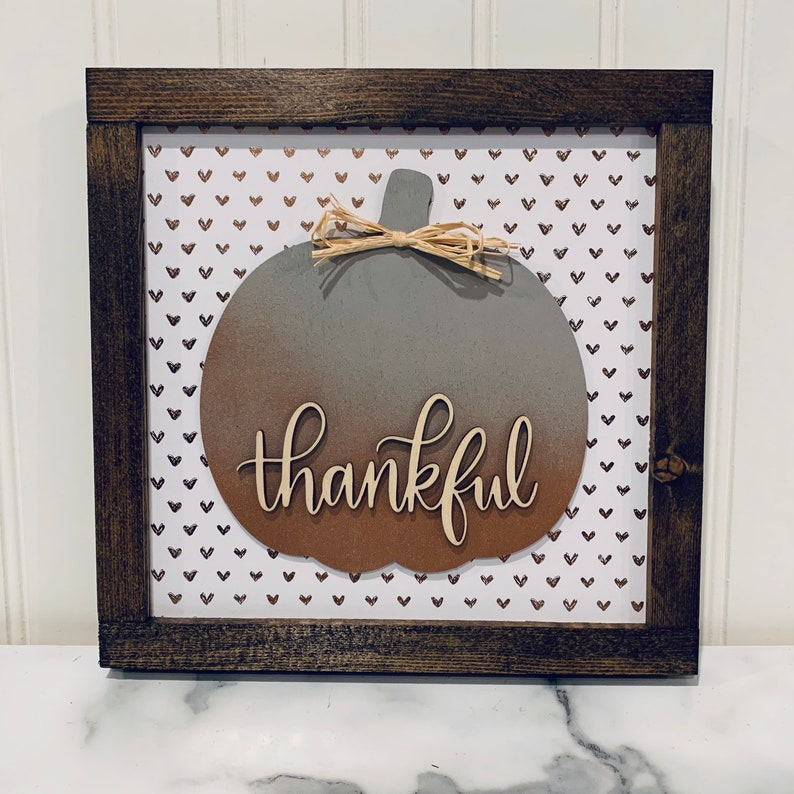 Fall Thankful Sign with Gray and Rose Gold Ombré Pumpkin  image 0