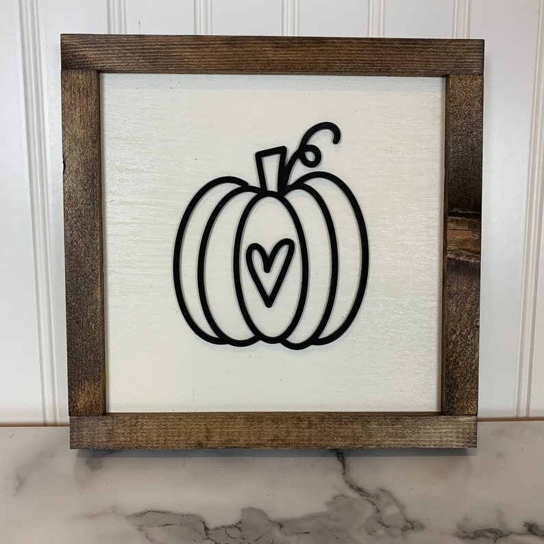 Laser Cut Pumpkin Sign with Heart  Black and White Pumpkin  image 0