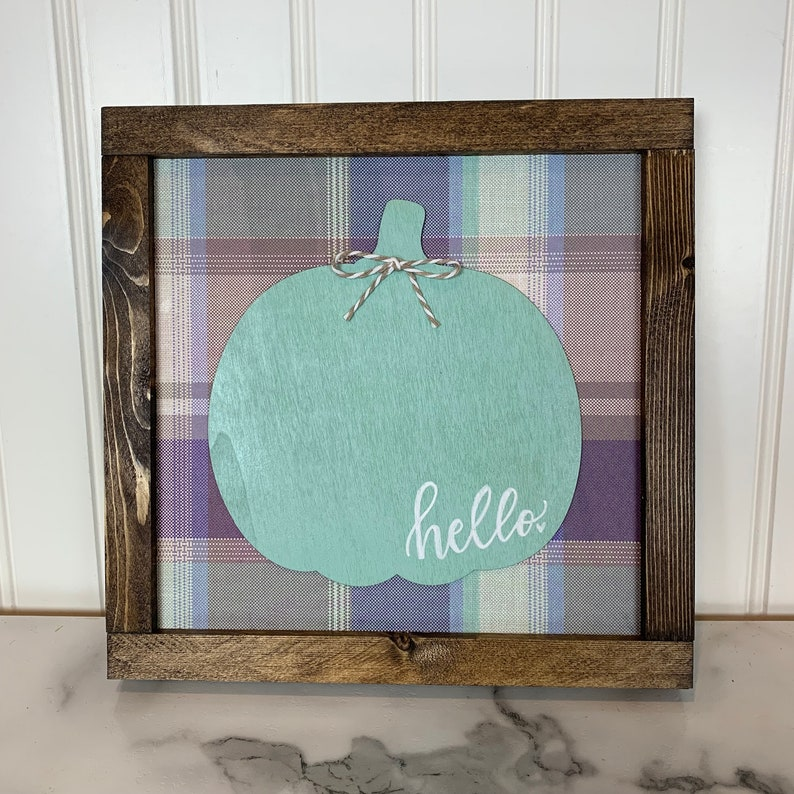 Fall Hello Pumpkin Sign with Shades of Purple image 0