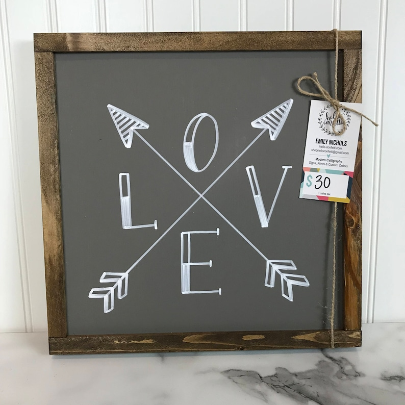 Love with Arrows  13x13 Sign  Hand Lettered  image 0