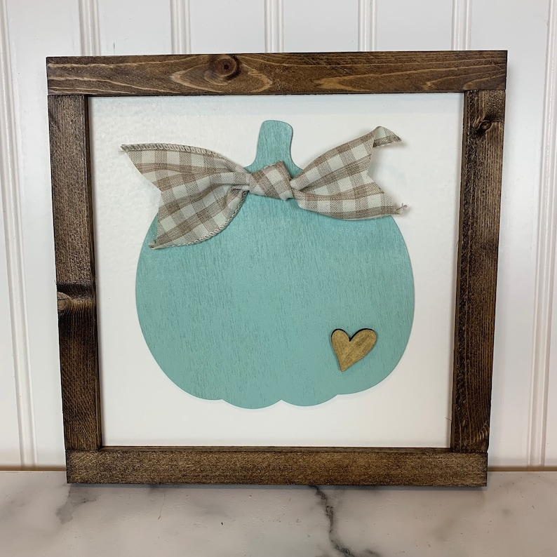 Fall Sign with Teal Pumpkin Gold Heart and Gingham Ribbon  image 0