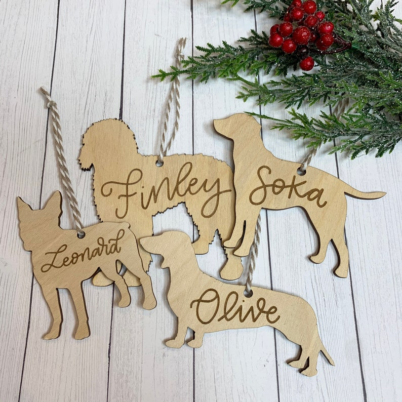 Personalized Dog Ornament  Wood Dog Ornament with Hand image 0