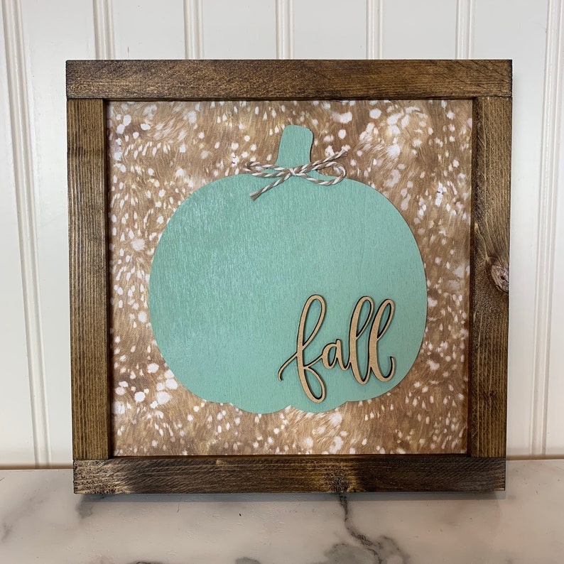 Fall Teal Pumpkin Sign with Faux Fur Background  Wood Sign image 0