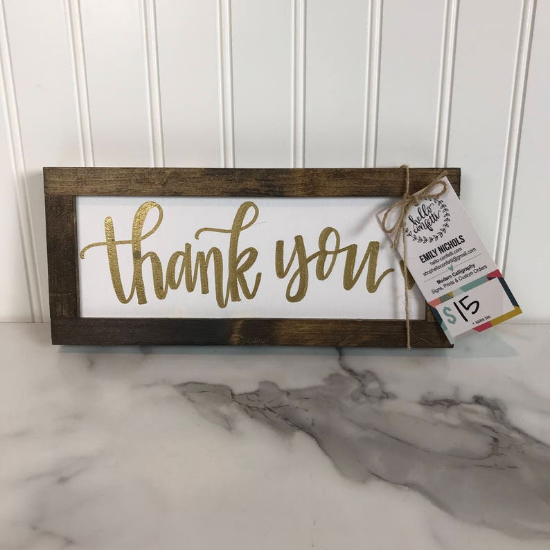 Thank You Wood Home Decor Sign  White and Gold Sign  image 0