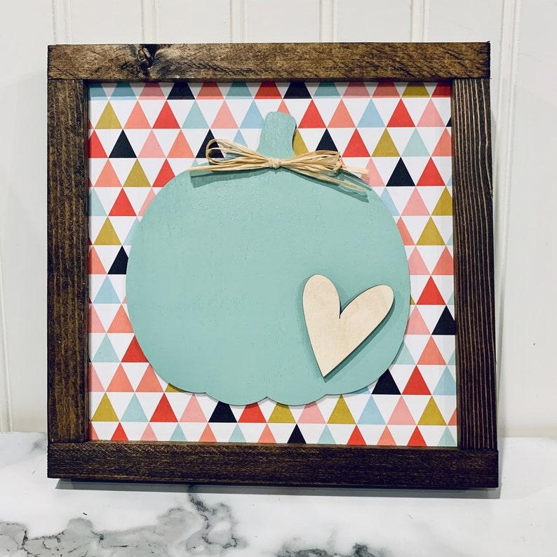 Multicolor Sign with Teal Pumpkin and Heart  Wood Sign with image 0