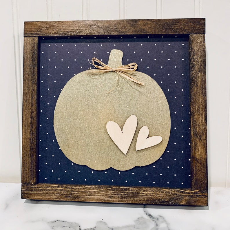Gold Sparkly Pumpkin Sign with Navy and White Polka Dots and image 0