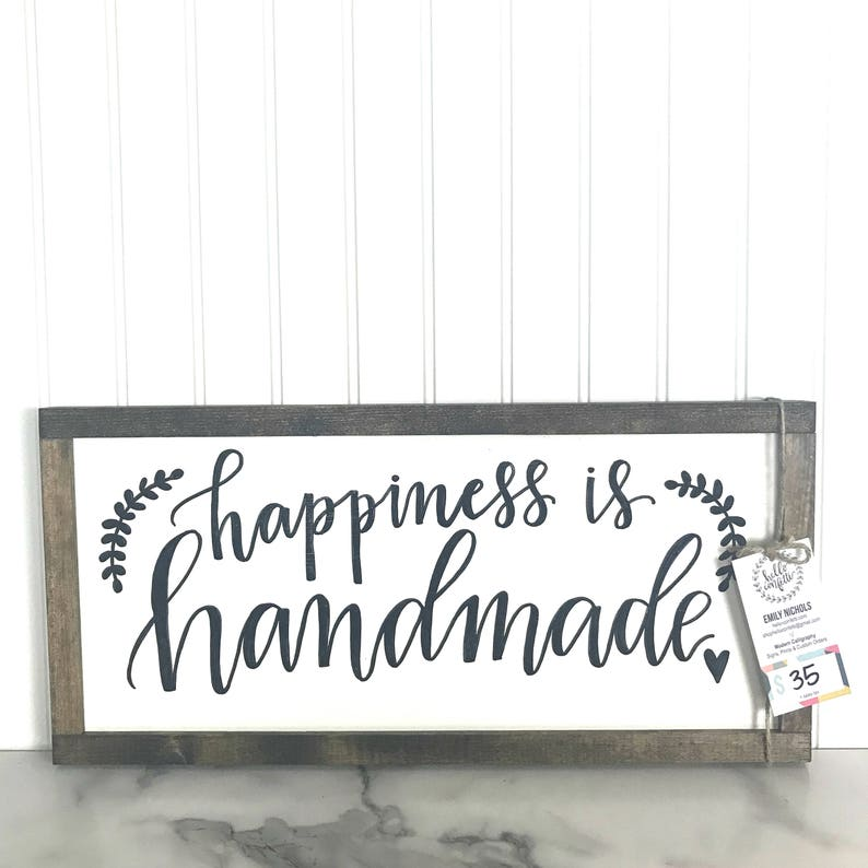 Happiness is Handmade  Black and White Home Decor Sign  image 0