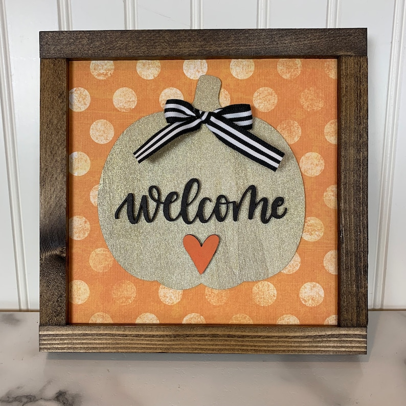 Gold Sparkly Welcome Pumpkin Sign with Polka Dots image 0