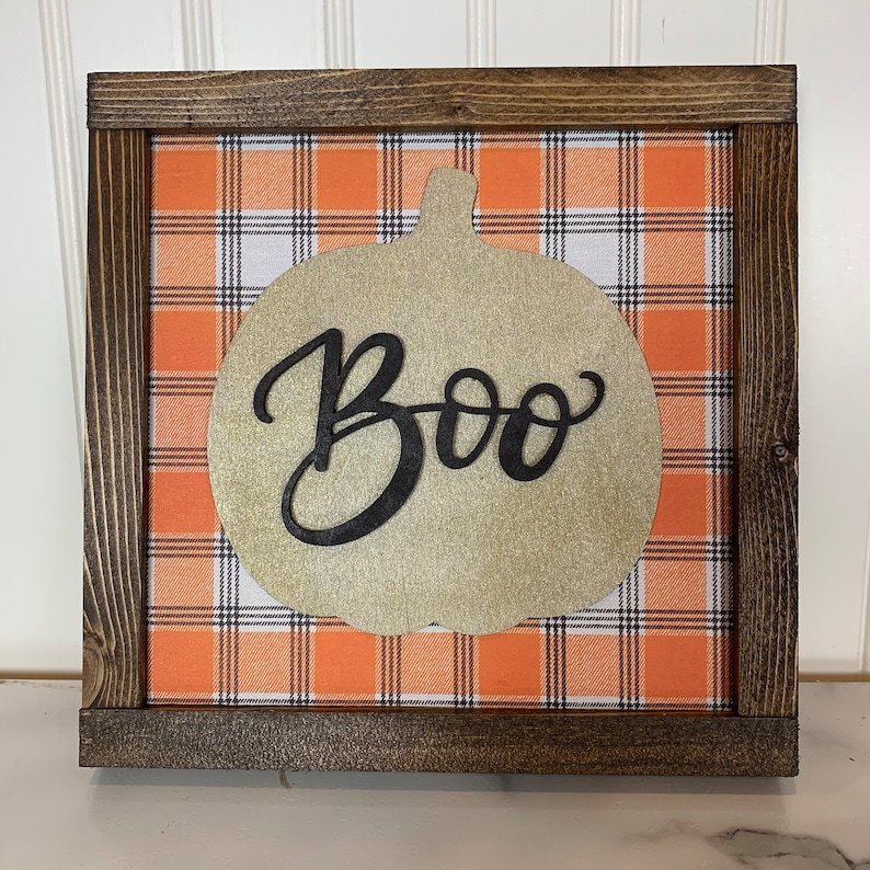 Gold Sparkly Boo Pumpkin Sign with Halloween Plaid image 0