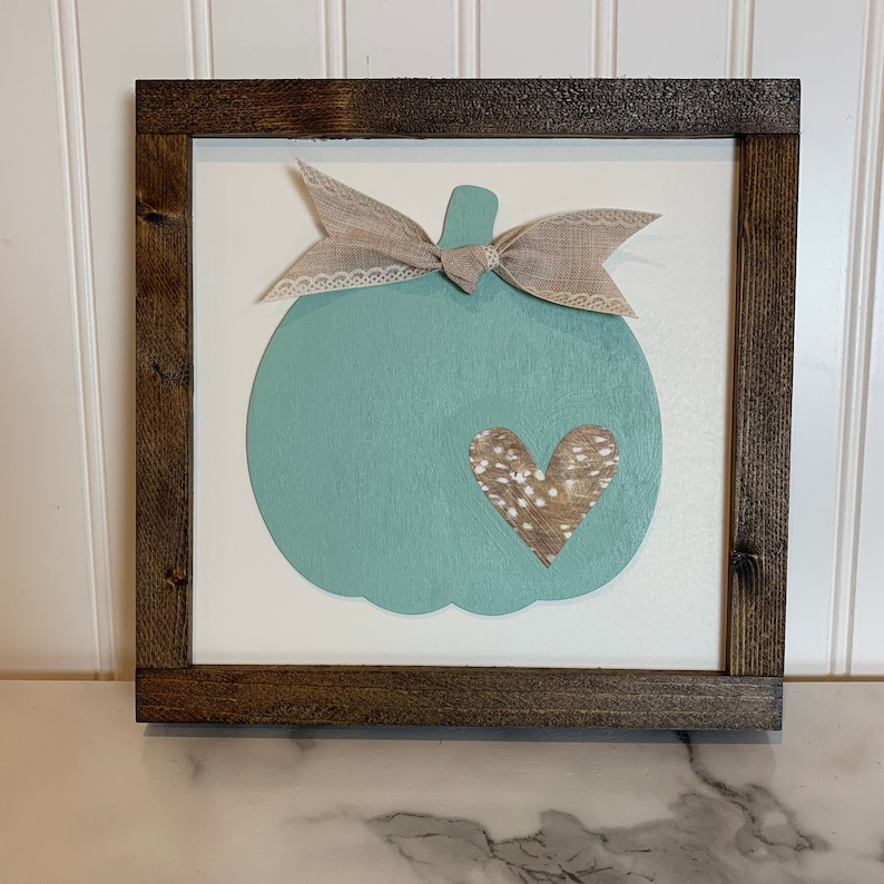 Fall Sign with Teal Pumpkin Faux Fir Paper Heart and Neutral image 0