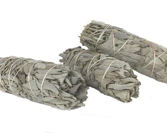 3 White California Sage Smudge Sticks 4 inches long