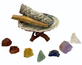 Chakra Healing Kit with 7 Chakra Crystals, California Sage, Abalone Shell, Wood Stand, Palo Santo - Healing Crystal Smudge Gift Kit