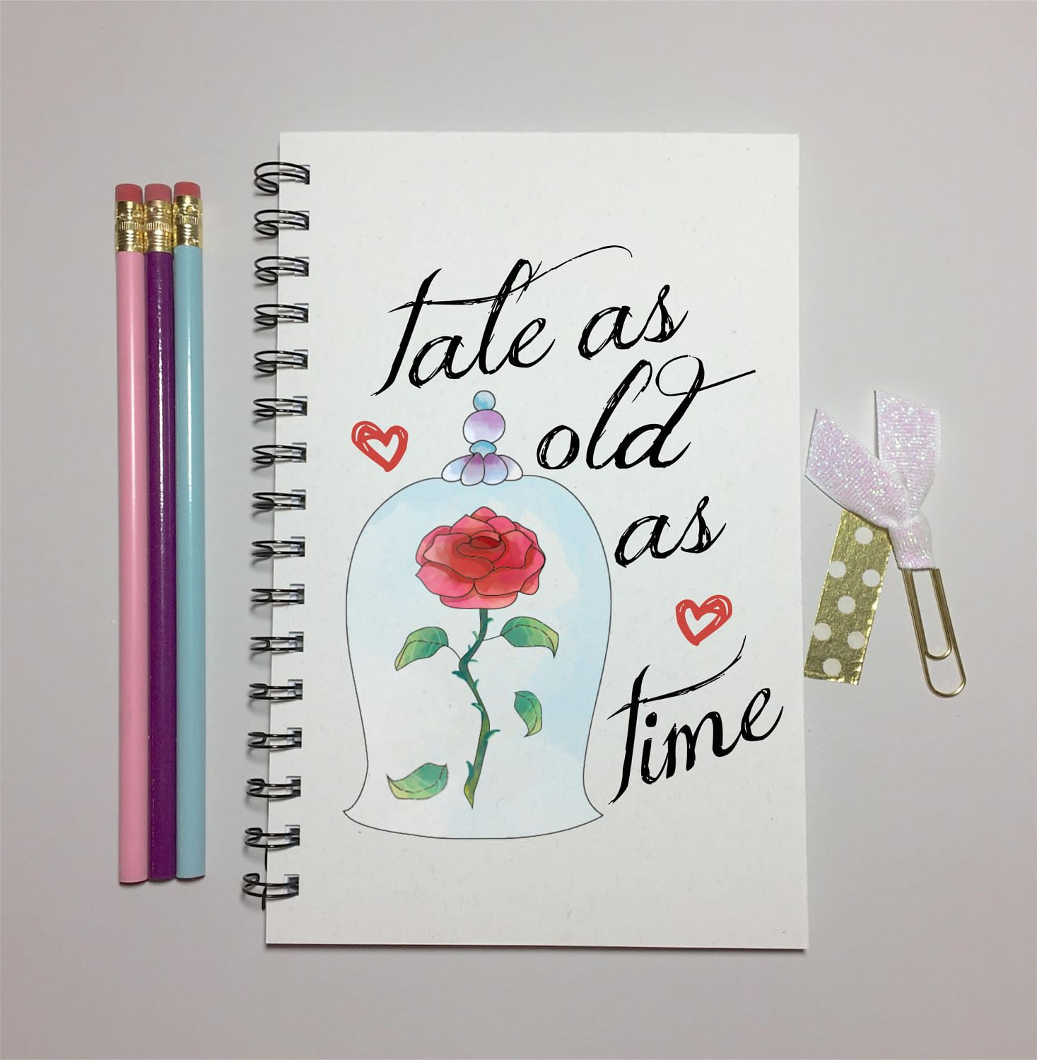 Tale As Old As Time Beauty And The Beast Rose Journal Etsy