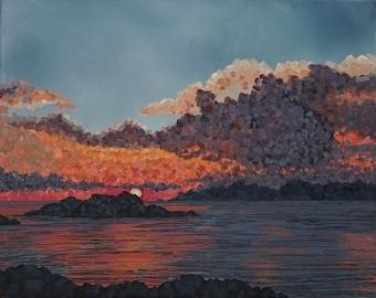 "Bay Sunset original oil painting impressionist seascape ocean sea landscape by Sarah Lynch 16""x20"""