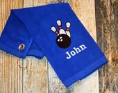 Bowling Towel with Hook - Personalized with Player 39 s Name - Available in Red, Royal Blue, Black or White - Bowling Pins and Ball Embroidered