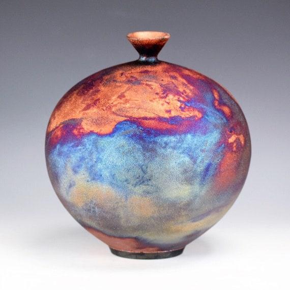 Original Korean Pottery Wheel Thrown Raku Vase Fine Art Ceramics by Galaxy Clay