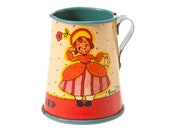 Vintage Tiny Tin Toy Pitcher - Ohio Art Co. Fern Bisel Peat Little Bo-Peep Litho Creamer - Made in USA Antique Teaset Piece
