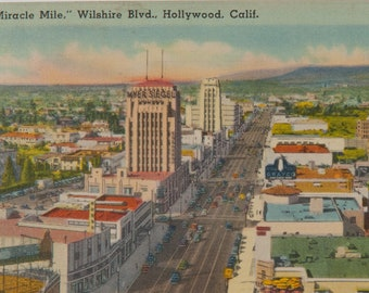 FREE SHIPPING: Vintage Miracle Mile Wilshire Blvd. Hollywood California Linen Postcard - Unmailed Los Angeles Post Souvenir