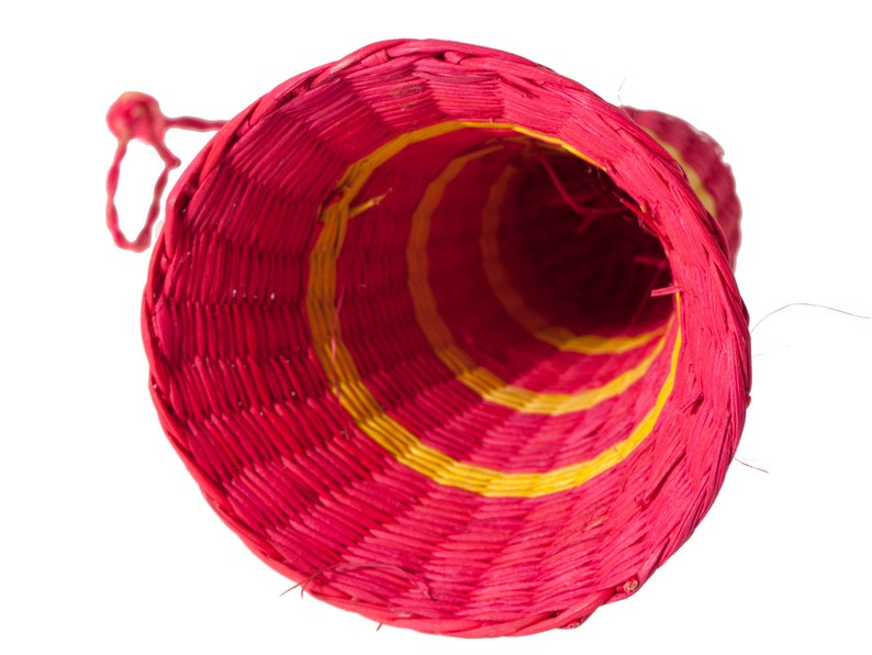 Vintage Christmas Ornament Handcrafted Colorful Woven Rattan Bell with Original Hanger Holiday Decor