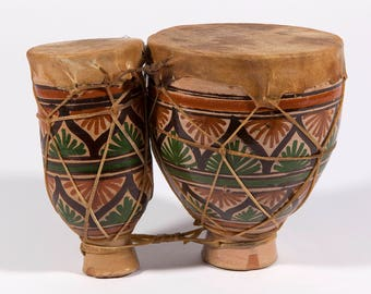 FREE SHIPPING: Vintage Ceramic Bongo Drums with Rawhide Tops - Hand Crafted Folk Art Music Instrument
