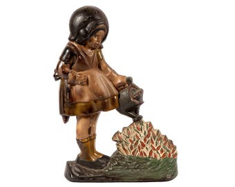 FREE SHIPPING: Vintage Cast Iron Girl Watering Flowers Doorstop ...