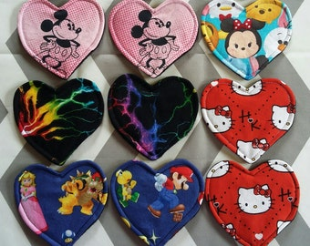 3 Pairs | Custom Reusable Heart Rounds | Fabric Facial Scrubbies / Cup Spots / Nursing Pads / Bra Liners