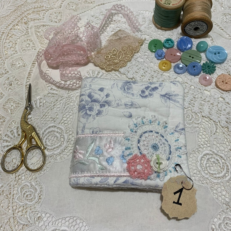 vintage Blue /& White Quilt with slow stitch details Sewing Needle Case Needle Book keep your sewing notions in handy reach
