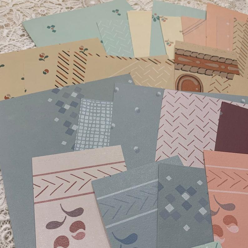 massive 50 PASTELS /& NEUTRALS  in geometric patterns Vintage WALLPAPER scrap pack 1970s