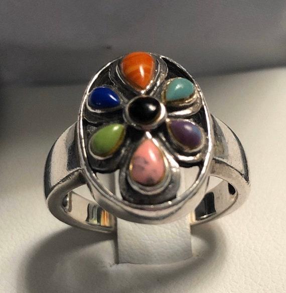 Estate 925 Silver Multi-Stone Ring