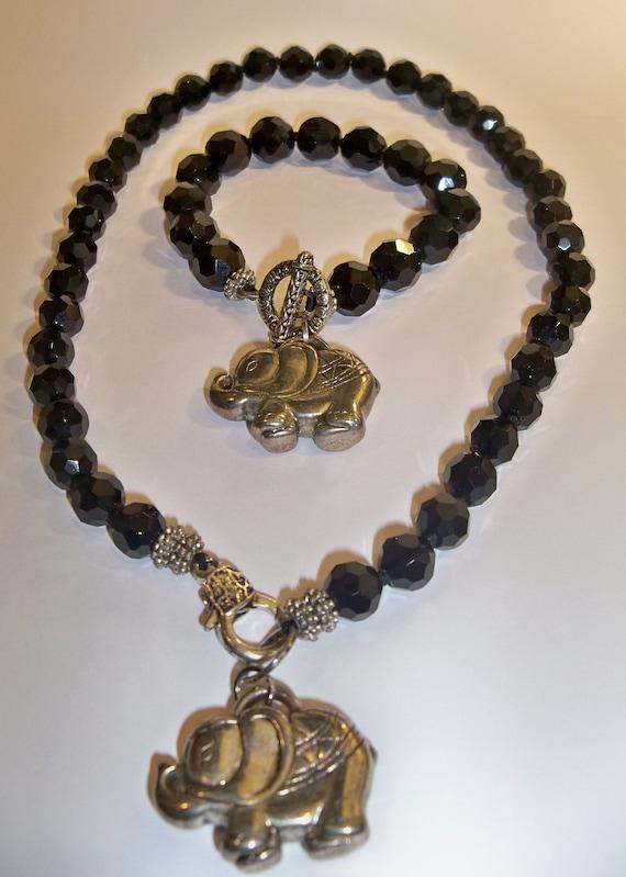 Very OLD Elephant Vintage Necklace~Trunks Up~