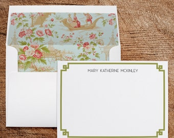 Chinoiserie Folded Notecards Thank You Note Card Custom Chinese Pagoda Writing Paper Asian Theme Stationary Personalized Stationery